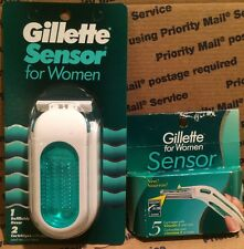 RARE Gillette Sensor For Women Razor Handle w/ 7 Blades - Vintage Made in USA