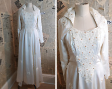 Vintage 50's wedding dress, silk and pearl gown, designer Laura Phillips