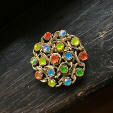 "Vintage Rhinestone Spring Colorful Rhinestone Pin SARAH COVENTRY ""Moon Lites"""