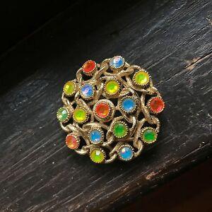 "Vintage Rhinestone Spring Colorful Rhinestone Pin SARAH COVENTRY ""Moon Lites"""