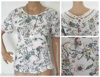 NEW EX PER UNA IVORY GREEN ORANGE YELLOW GREY FLORAL LACE BACK TOP SIZE 6 - 18