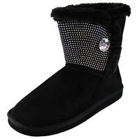 New women's shoes mid shaft boot faux fur lining suede like winter warm Black