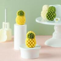 2pcs Pineapple Stamp DIY Plastic Mooncake Mold 50g Cookie Cutter Chocolate Mould