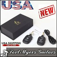 NEW Guitar WIRELESS System Transmitter Receiver rechargeable USA BASS UHF HOME