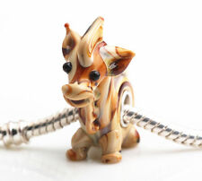 1pcs SILVER MURANO GLASS BEAD LAMPWORK Animal Fit European Charm Bracelet DW219