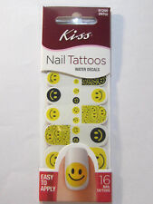 Kiss 16x Nail Tattoos Water Decals - Easy Application - Smiles Emoji - New