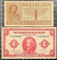 NETHERLANDS 1 Gulden 1943 and 1945 Banknote WWII Currency Lot of 2