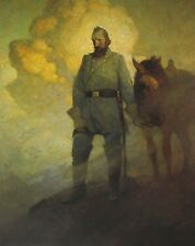 Vintage Art NC Wyeth The Vedette Civil War Stonewall Jackson Confederate Soldier