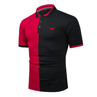 Men Colorblock Polo Shirt Short Sleeve Patchwork Cotton T Shirt with Embroidered