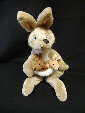 """17"""" Nanco ANIMALAND Brown KANGAROO & 2 BABY ROOS Plush Stuffed Animal"""