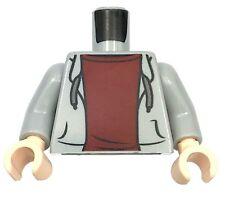 LEGO NEW LIGHT BLUISH GREY MINIFIGURE TORSO HOODIE DARK RED UNDERSHIRT BOY PIECE