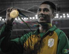wayde van niekerk celebrating with gold medal rio 2016 signed 10x8 photo PROOF