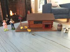 Putz House Antique Log Cabin Wood Wooden Handmade Christmas Nativity Dollhouse