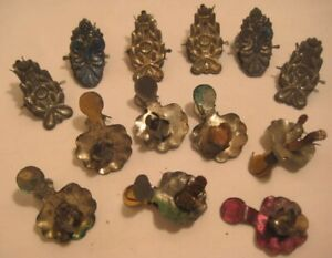 13 Victorian Tin Christmas Tree Candle Holders - Embossed Clips w/ Designs