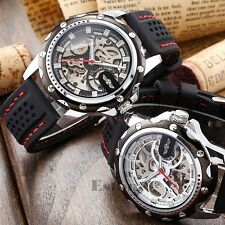 Men's Stylish Military Mechanical Automatic Skeleton Silicone Sport Wrist Watch