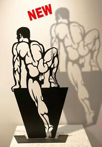 ASCEND 23inch Male nude steel sculpture by Wim Griffith gay art