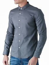 Mens Duck and Cover Birch Cotton Shirt in Grey- Long Sleeve- Button Down Collar- 2xl DC2G111535AA2GRY249