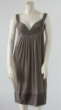 S' MAXMARA Brown STRETCH SLEEVELESS SWEETHEART KNEE LENGTH DRESS Sz M HS1636