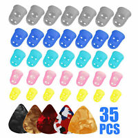 35pcs Guitar Silicone Finger Protection Finger Protector Covers Caps in 5 Sizes