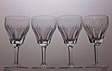 "4 STUART CRYSTAL  ""CARDINAL"" PATTERN CUT GLASS SHERRY WINE GLASSES - SIGNED"