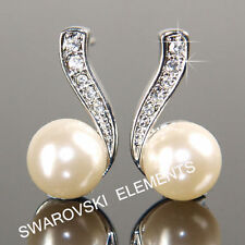 Crystal Drop/Dangle Round White Gold Filled Costume Earrings