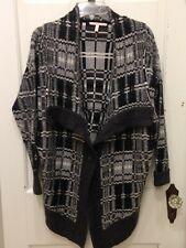Victoria's Secret Thick Long Sassy Wool Mohair Cardigan Sweater SZ S Gray Plaid