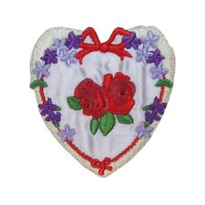 ID 3235 Floral Heart With Roses Patch Valentines Day Embroidered IronOn Applique