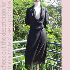 BOTTEGA VENETA (Italy) Subtle Silk Short-sleeves Little Black Dress I40/M