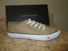 "Tommy Hilfiger Mens ""Tucker"" Sneakers 9 M Khaki Canvas Upper New with Box"