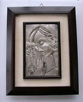 Vintage Repousse Sterling Silver 925 Framed art Religious Picture Signed Daniel