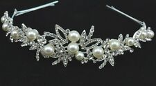 White Gold Plated Silver Tone Bridal Tiara use Swarovski Crystals & Ivory Pearls