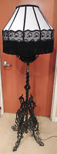 19th Century Piano Lamp - cast iron Victorian floor lamp converted from oil