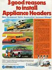 1975 Print Ad of Appliance Industries Headers w Chevy Truck Ford Pickup & Camaro photo