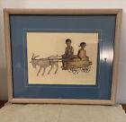 Annie Lyle Viser Folk Art Gullah Charleston Goat Pulling Children Signed Framed
