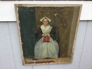 Antique Framed Oil Painting Portrait Amish Woman Sewing by William Earl Singer