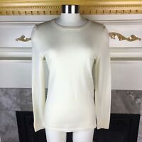 New LORD & TAYLOR Womens S Ivory Long Sleeve Extra Fine Merino Wool Sweater