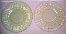2 Vintage Anchor Hocking Green Depression Circle & Block Optic Pattern Plates