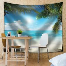 Trees in an Island Framing the Ocean on a Sunny Day - Fabric Tapestry- 51x60