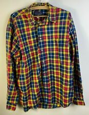 Cottonfield Vintage Mens Beige Checked Long Sleeve Shirt Blue/Yellow/Red Size XL