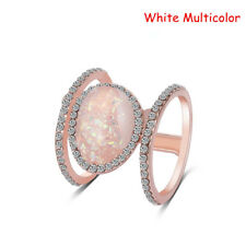 Exquisite Ring Purple White Opal 14K Solid Rose Diamond Party Ring Charm Gift--