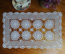 Extreme Fine Yarn Mecerized Cotton Hand Crochet Lace Doily Placemat 27x47CM Whit