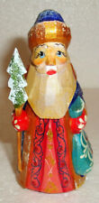 """FATHER FROST~Russian SANTA CLAUS~Handcarved~4""""~Handpainted~WOOD~VERY CUTE"""