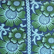 Large Blue Green Indian Block Print FABRIC Bedspread Wall Hanging Hippie BOHO