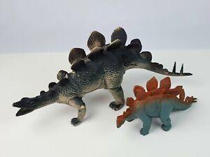 "Vintage lot UKRD Stegosaurus toy Dinosaurs large 15"" & modern 8.5"" PVC & rubber"