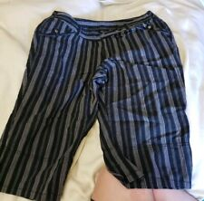 VENEZIA PLUS SIZE 20 BLACK WHITE STRIPED LONG SHORTS