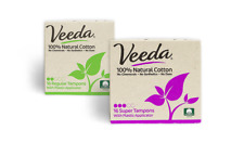 Veeda Natural Cotton Tampons, Regular, Super, Compact Applicator, 1 Box Each