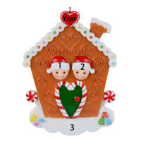 Gingerbread House Family of 2 3 4 5 6 7 8 FREE Personalized Christmas Ornament