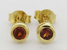 E072 Genuine 9ct Yellow Gold NATURAL Garnet Round Bezel Stud Earrings Birthstone
