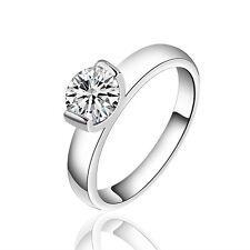 925 Sterling Silver Zirconia Band Weeding Ring Size 8 B128