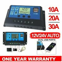 10A 20A 30A LCD Dual USB Solar Panel Battery Regulator Charge Controller 12V/24V